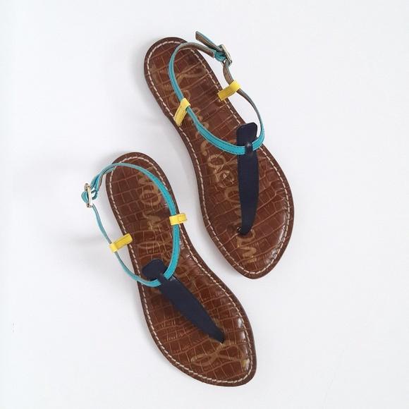2eb96f91b01675 Sam Edelman Shoes - Sam Edelman Gigi Colorblock T-Strap Sandals Sz 7M